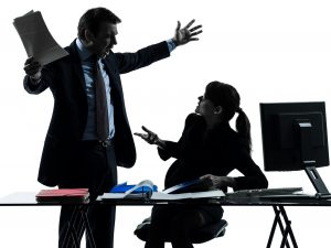 Business man and woman arguing silhouette