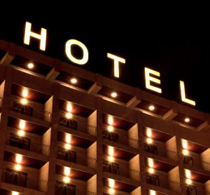 Hotel sign at night